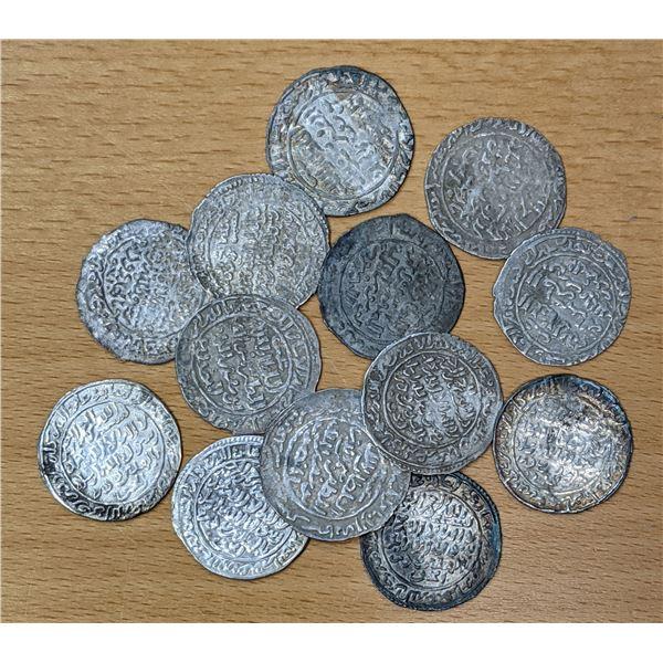 RASULID: LOT of 13 silver dirhams