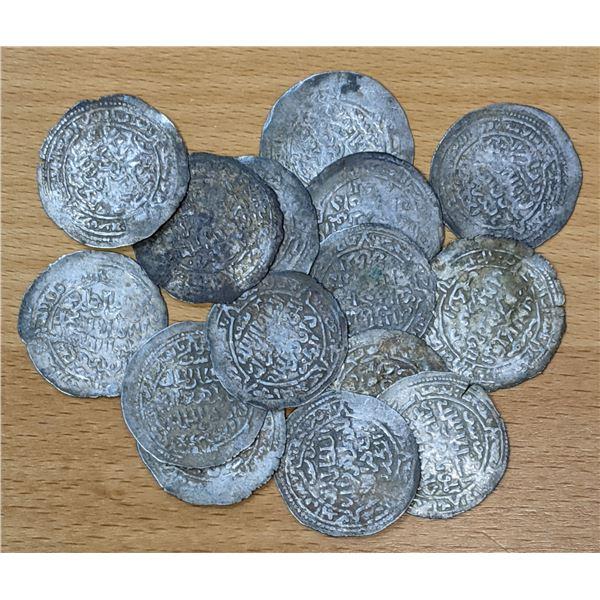 RASULID: LOT of 15 silver dirhams
