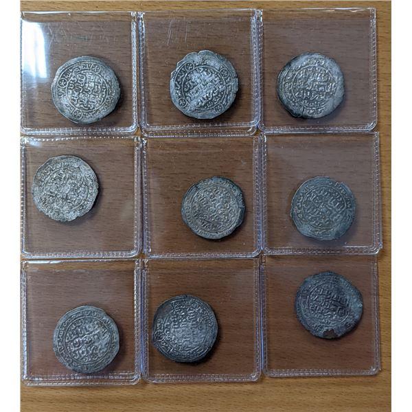 RASULID: LOT of 9 silver dirhams