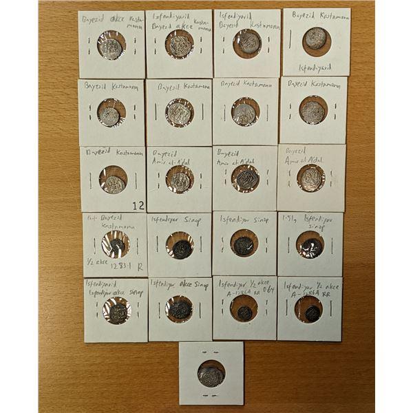 ISFENDIYARID: LOT of 21 small silver coins