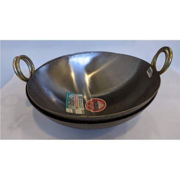 Chinese wok/ Indian Karhai 17in - white iron (brand new)