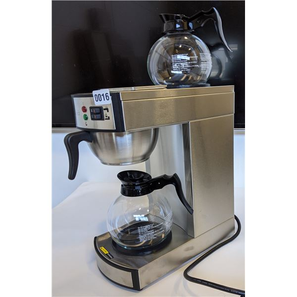 OMCAN Stainless steel Coffee Maker with 2 Glass Decanters (Model - CM-TW-0002D) - Brand New in Box w