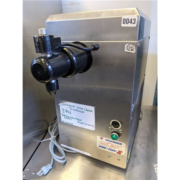 """Sanomat Whip Cream Dispenser Model. Euro Plus S - Tested Working Condition - (approx. 12"""" x 16"""" x 22"""