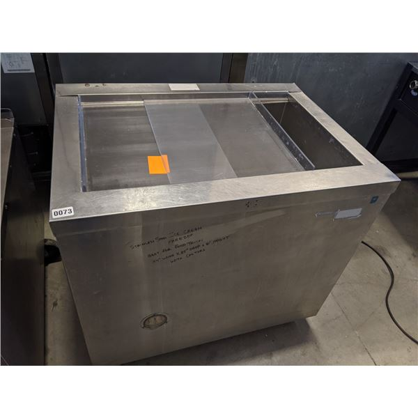 """Stainless Steel Ice Cream Freezer w/castors - Perfect for Food trucks - (Approx. 35"""" x 34"""" x 31"""")"""
