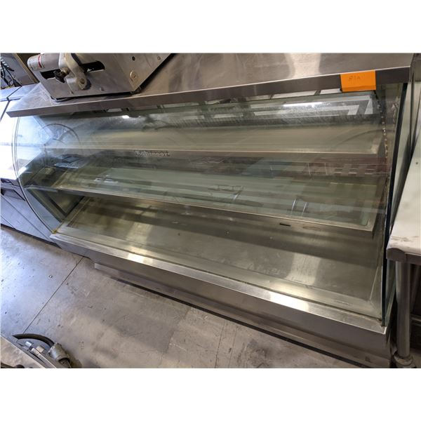"""73"""" Curved Glass Dry Display Case w/Casters by Kohinoor - (Approx. 29"""" x 73"""" x 52')"""