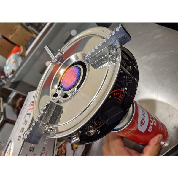 New Art portable gas stove w/ butane gas can