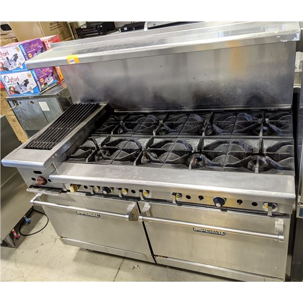 """60"""" gas range w/12"""" charbroiler, 8 burners & 2 ovens by Imperial - (Approx. 31"""" x 61"""" x 56"""")"""