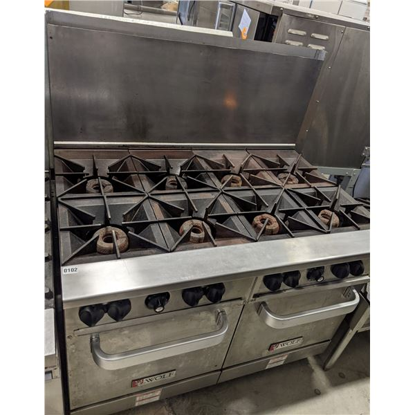 """8 Burner w/2 standard oven & casters by Wolf (Propane) - (Approx. 34"""" x 48"""" x 58"""")"""