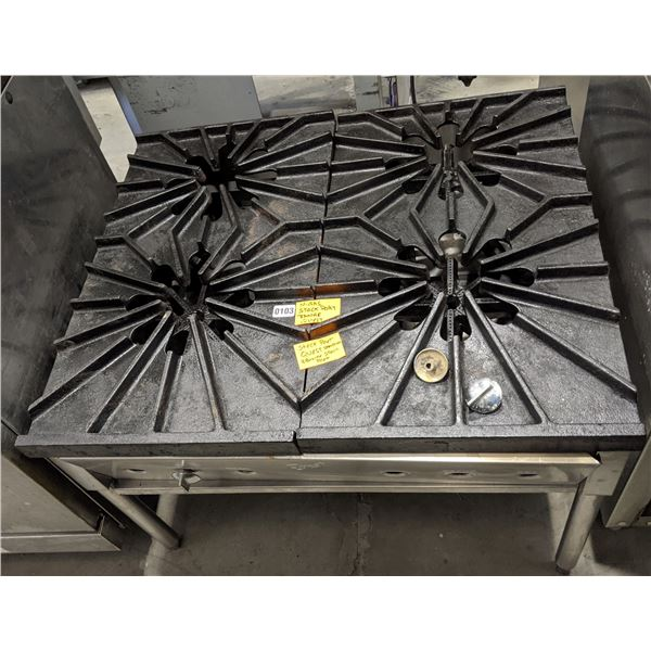 """4 Burner stock pot range by Quest Vancouver (Natural Gas) - (Approx. 31"""" x 36"""" x 25"""")"""