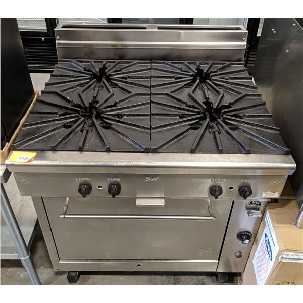 """4 Burner w/convection oven & casters by Quest Vancouver - (Approx. 34"""" x 36"""" x 42"""")"""