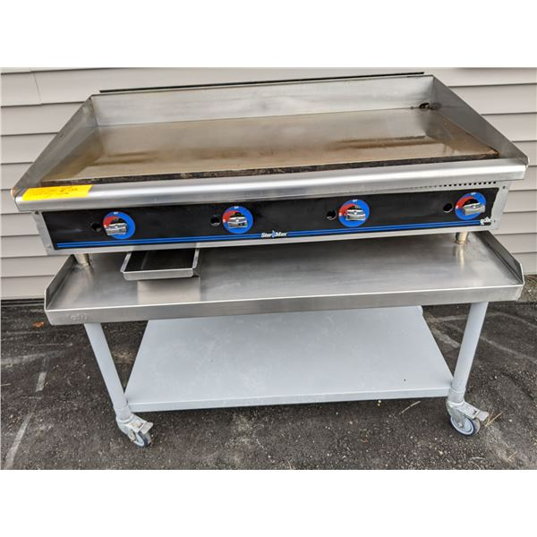 """48"""" Natural Gas Flat Griddle w/EFI equipment stand on casters"""
