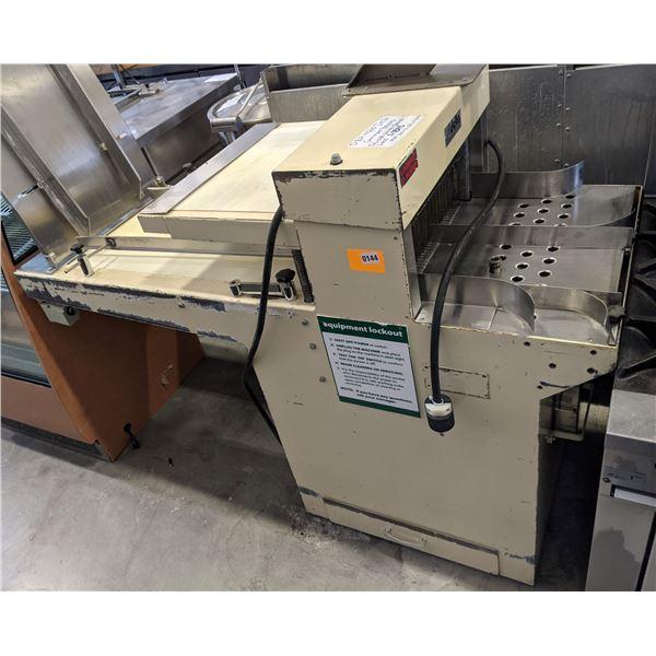 """Conveyor belt bread slicer w/quick lock by Delta - Model: DBA 45/13 - (Approx. 26"""" x 68"""" x 67"""")"""