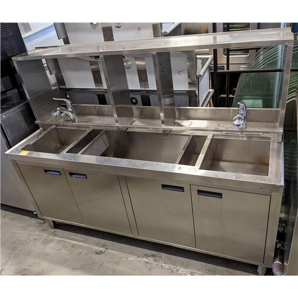 """6 feet 2 Dishwashing Sinks w/faucet & shelving - (Approx. 27"""" x 72"""" x 52"""")"""