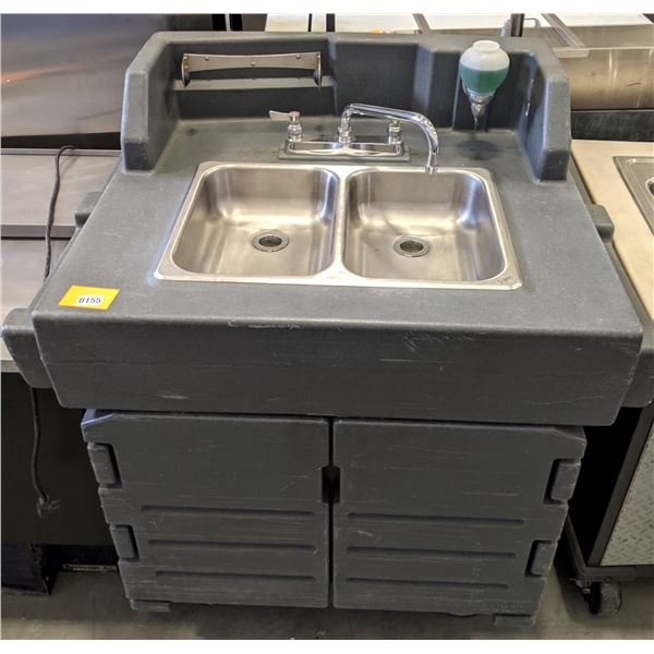 """Portable sink w/casters - approx. 31"""" D x 40"""" W x 45"""" H"""