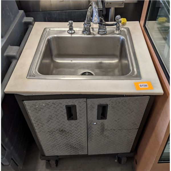 """Portable sink w/casters - (Approx. 26"""" x 28"""" x 45"""")"""