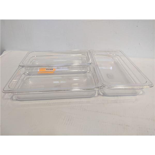 Three 2.4L plastic food container
