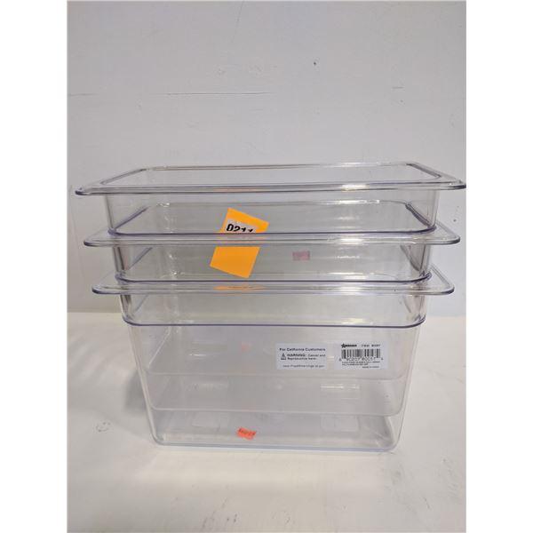 Three 6.91L plastic food container