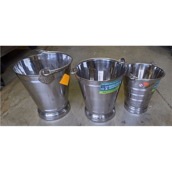 Group of 3 new assorted steel buckets