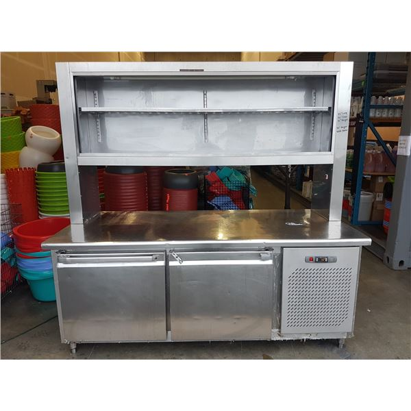 """Stainless steel prep table w/ 2 door refrigeration & shelving (32"""" x 74"""" x 72"""")"""