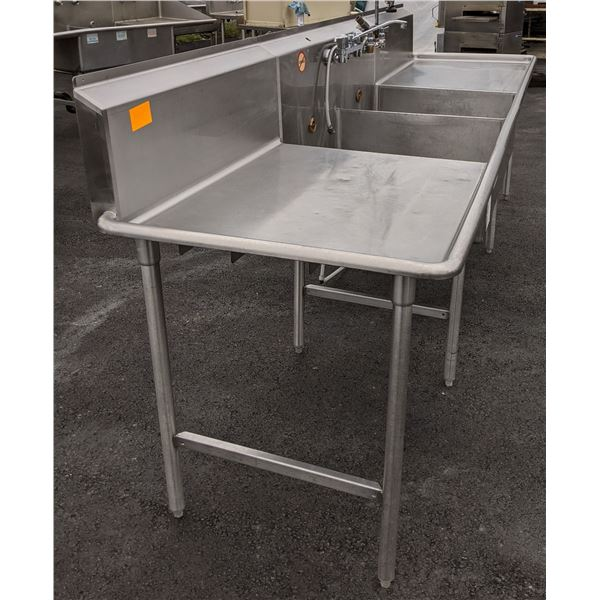 12ft Heavy Duty Commercial Dish washing station w/2 sinks & faucets - (Approx. 2.5ft x 12ft x 6.5ft)