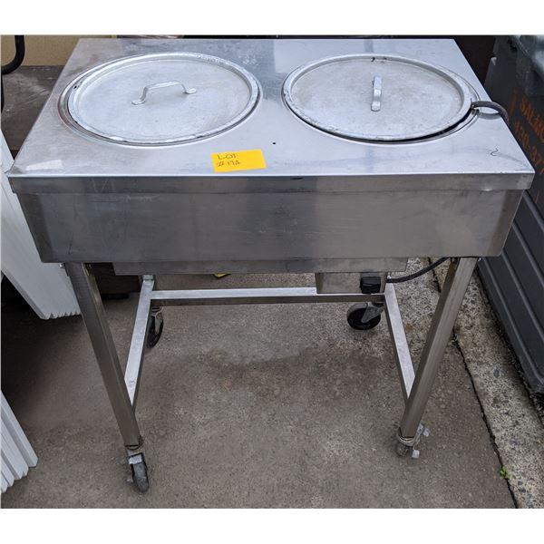 Stainless steel hot dog & bun steamer