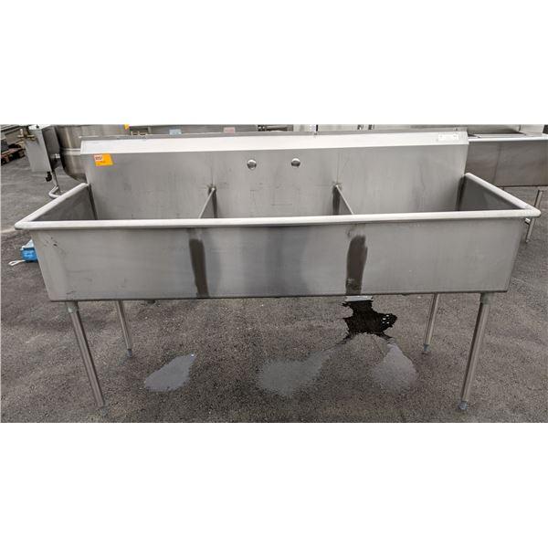 Corner Drain Three Compartment Sink With No Drain Board by EFI - Model: SI824-3N-E
