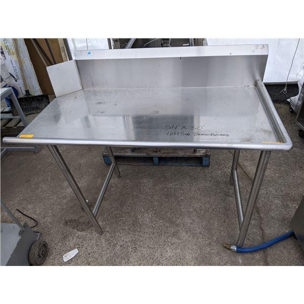 """54"""" Stainless steel Left Side Drain Board"""
