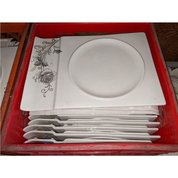 A box lot of plates with cutlery holder