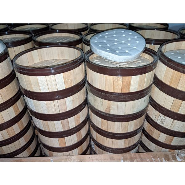 Set of 40 Small Dim Sum Bamboo Steamers w/filters