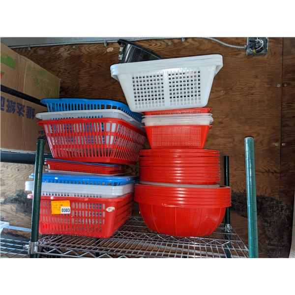 Large lot of Plastic baskets - different sizes and colours