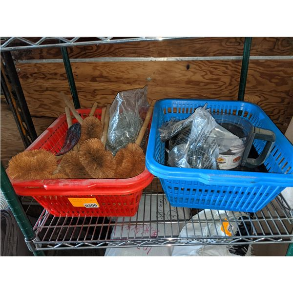 Shelf lot of baskets and scrubbers