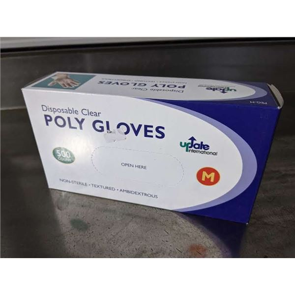 5 Boxes of Disposable Clear Poly Gloves (500 pcs per box)