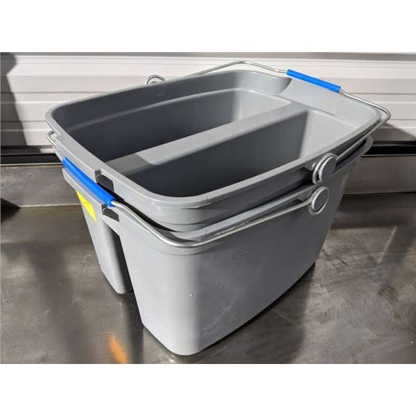 2 Plastic double compartment buckets for cleaning