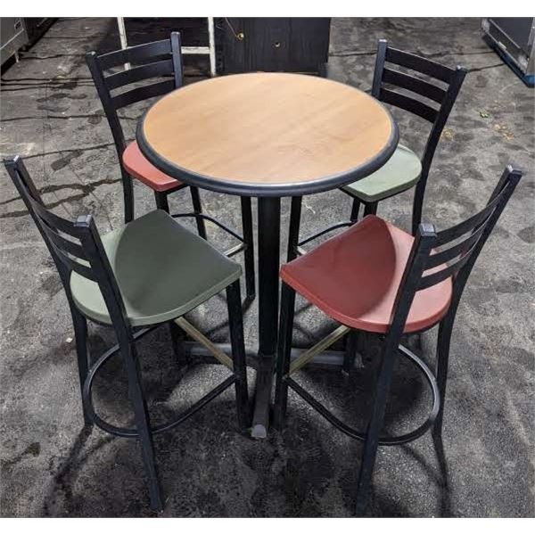 High table w/four high chairs from Subway