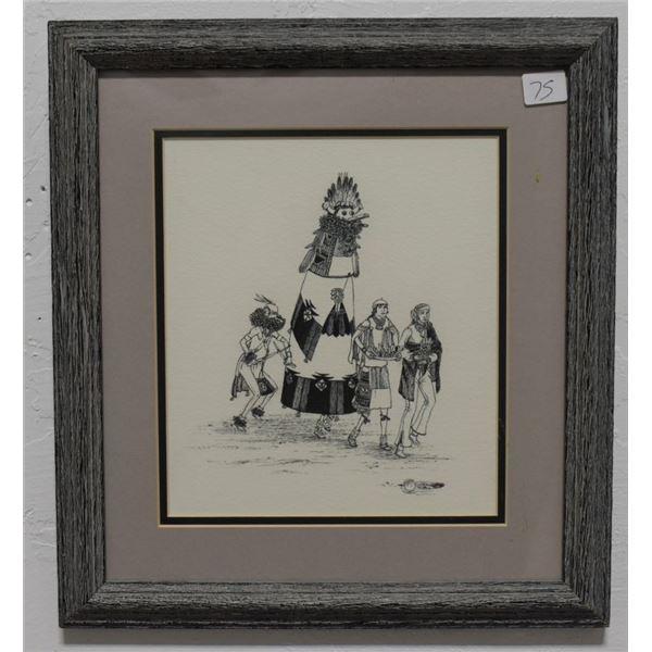 NAVAJO INDIAN PEN & INK (JOHN SECATERO)