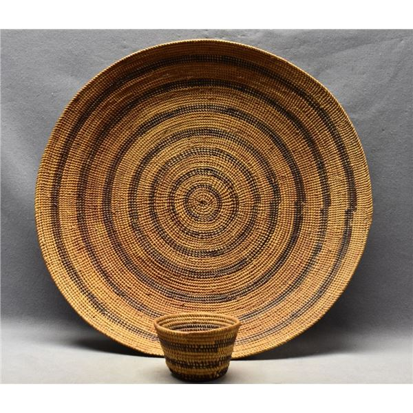 YOKUTS INDIAN BASKETRY GAMBLING TRAY AND DICE CUP