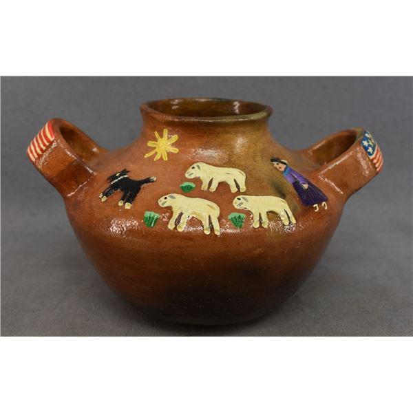 NAVAJO INDIAN POTTERY BOWL (ELIZABETH MANYGOATS)