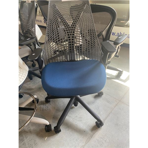 HERMAN MILLER SAYL BLUE/GREY FULLY ADJUSTABLE TASK CHAIR RETAIL PRICE $1168 CAN.