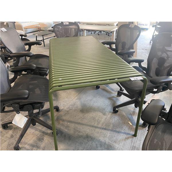 HERMAN MILLER EAMES PALLISSADE OLIVE GREEN 170 X 910CM METAL TABLE RETAIL PRICE $1123 CAN.