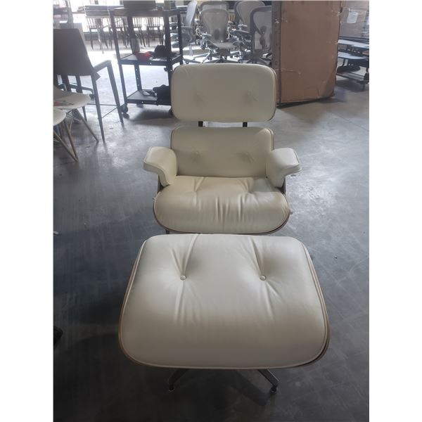 WHITE FULL GRAIN LEATHER HERMAN MILLER EAMES PALISANDER LOUNGE CHAIR AND OTTOMAN
