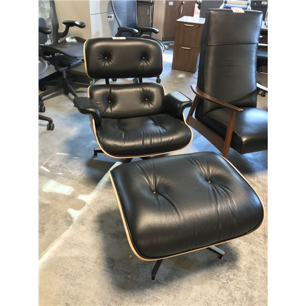 BLACK FULL GRAIN LEATHER HERMAN MILLER EAMES PALISANDER LOUNGE CHAIR AND OTTOMAN