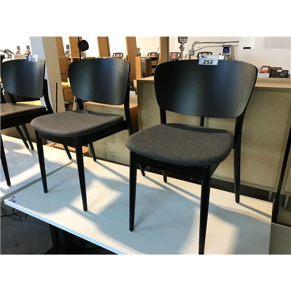 PAIR OF TON CHARCOAL GREY/EBONY FRAMED CURVED BACK SIDE CHAIRS