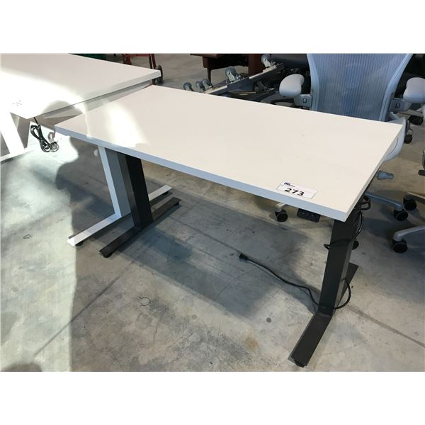 HERMAN MILLER WHITE ADJUSTABLE HEIGHT SIT/STAND ELECTRIC PROGRAMMER TABLE 4' X 2'