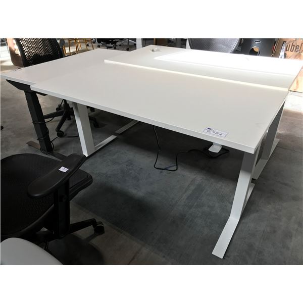HERMAN MILLER WHITE ADJUSTABLE HEIGHT SIT/STAND ELECTRIC PROGRAMMER TABLE 5' X 2.5'