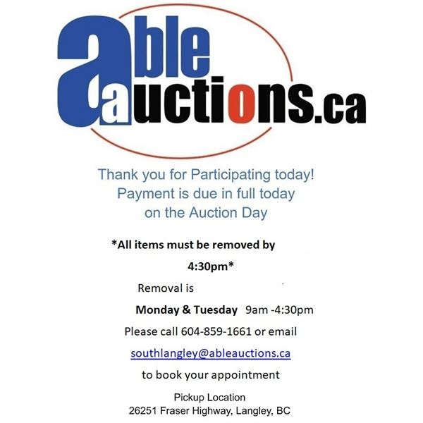 ALL ITEMS MUST BE REMOVED BY MONDAY & TUESDAY 9AM- 4:30PM BY APPOINTMENT