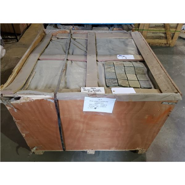 """PALLET OF 450 PCS OF 3X3"""" MULTI BROWN MOSAIC TILE ON 12X12"""" SHEETS"""