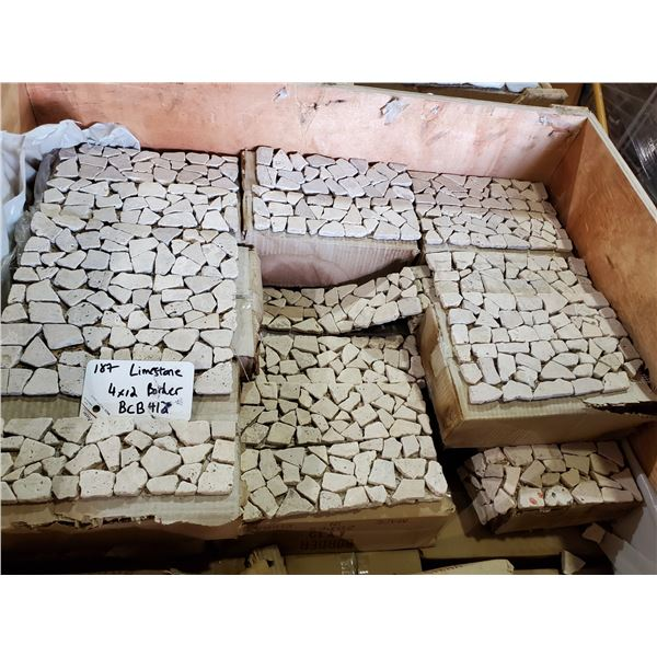 """PALLET OF APPROX 400 PCS OF LIMESTONE BORDER TILE ON 4X12"""" SHEETS"""