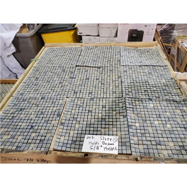 """PALLET OF 450 PCS OF 5/8"""" MULTI BROWN SLATE MOSAIC TILE ON 12X12"""" SHEETS"""