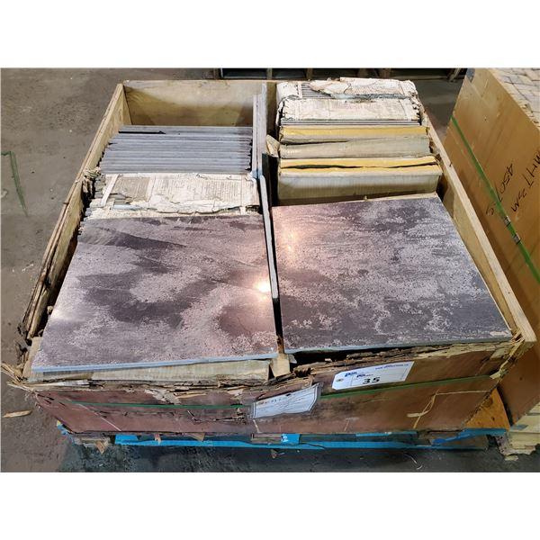 "PALLET OF 100 PCS OF 16X16"" POLISHED METALLIC GOLD SLATE TILE"