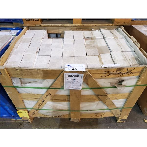 """PALLET OF 4050 PCS OF 4X4"""" CREMA CLASSIC MARBLE TILE"""